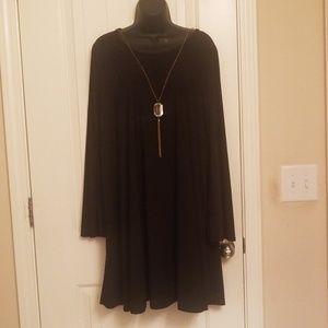 Plus Size Women Black Dress with Diamond Pendant